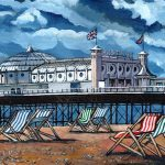 Deckchairs at Brighton sussex painting