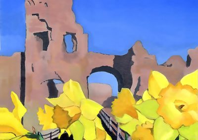 Daffodils at Pevensey Castle