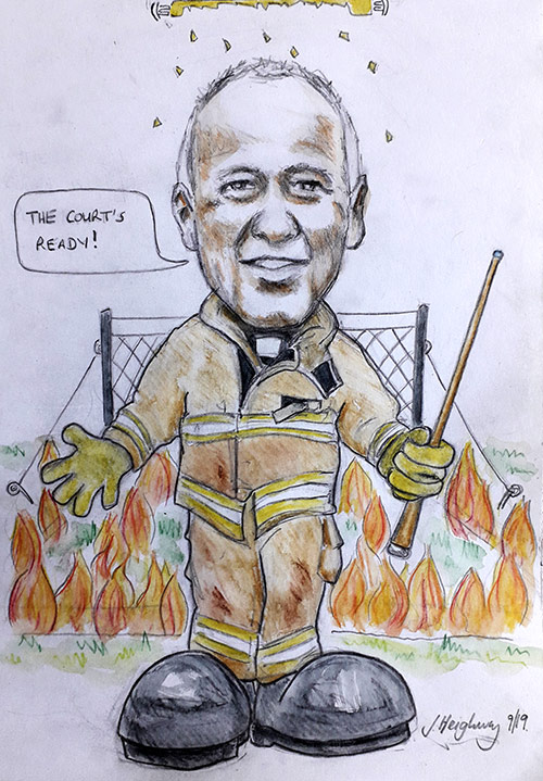 Graham's Retirement caricature