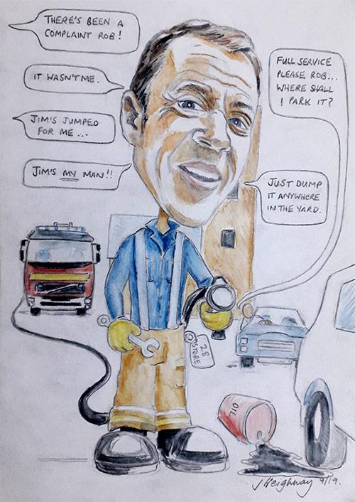 robs retirement caricature
